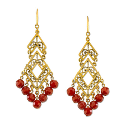 Antiqued 14K Gold-Dipped Gemstone Carnelian Chevron Chandelier Earrings