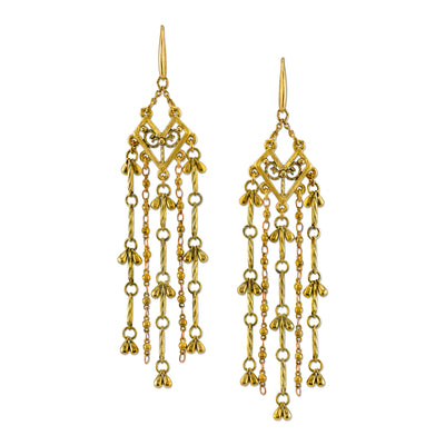 Matte Antiqued 14K Gold Dipped Tassel Linear Earrings