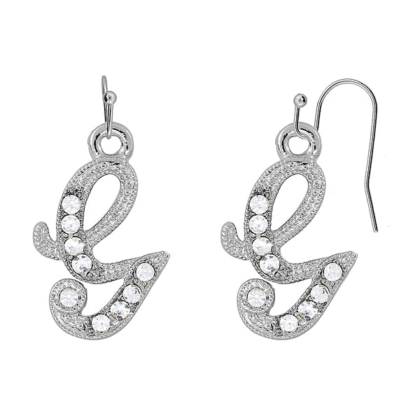 Silver Tone Crystal Initial Wire Earrings W