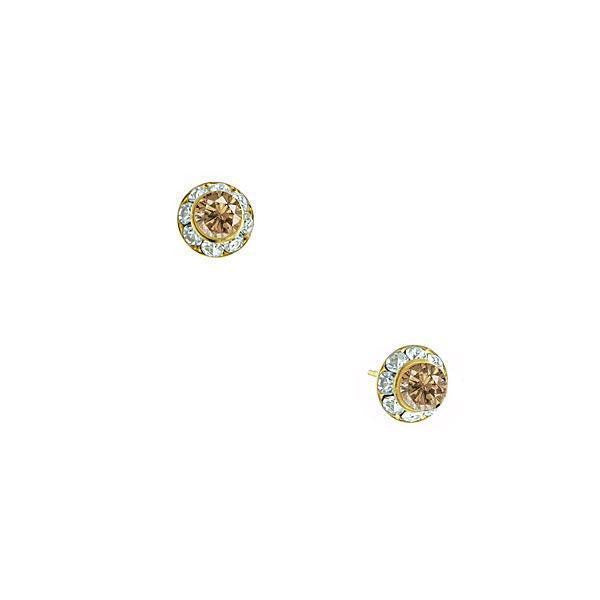 Gold Tone Light Topaz Color Stud Earrings