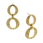 Gold Tone Circle Drop Earrings