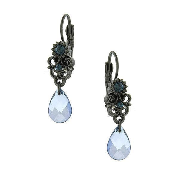 Black-Tone Blue Crystal Teardrop Earrings