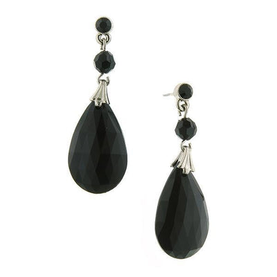 Silver Tone Black Briolette Teardrop Earrings
