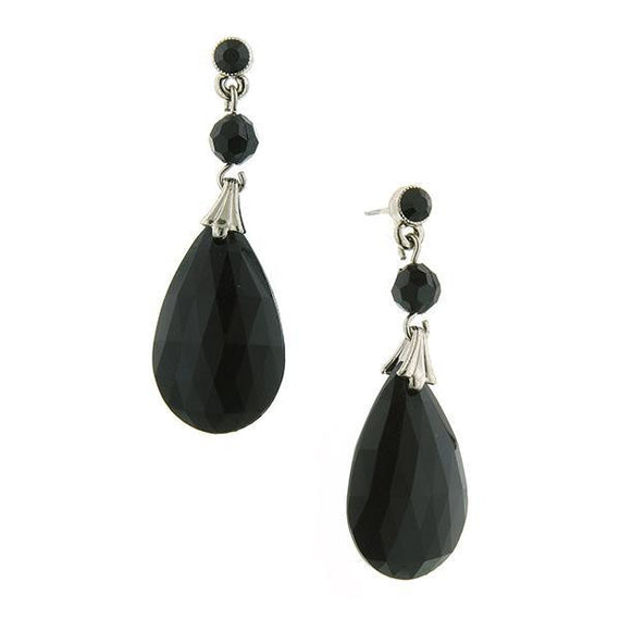 Fashion Jewelry - Classic Jet Black Briolette Teardrop Earrings