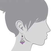 Silver Tone With Colored Beaded Chandelier Earrings