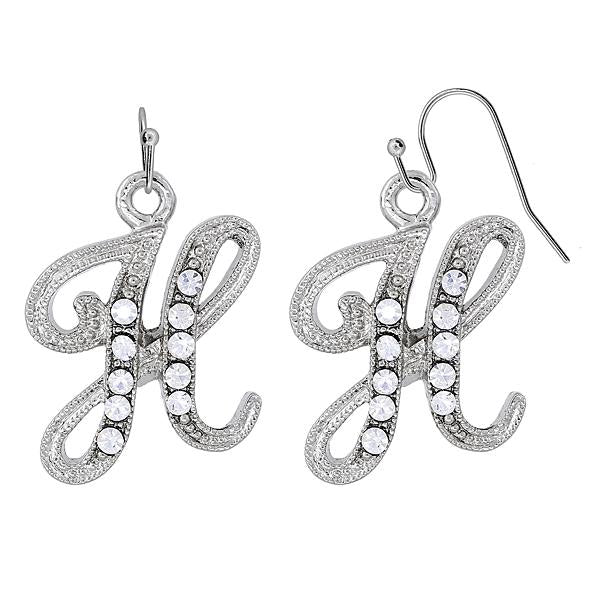 Silver Tone Crystal Initial B Wire Earrings