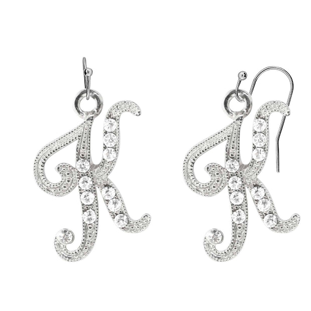 Silver Tone Crystal Initial D Wire Earrings