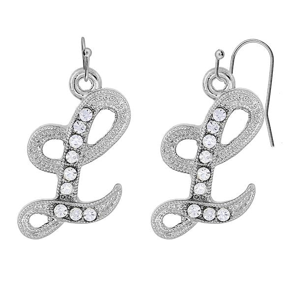 Silver Tone Crystal Initial E Wire Earrings