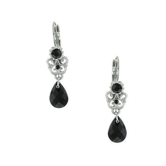 Silver-Tone Black Cystal Teardrop Earrings