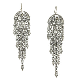 Silver-tone Crystal Lantern Drop Earrings