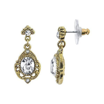 Gold Tone Crystal Drop Earrings