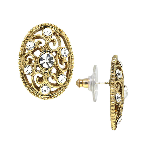 Gold-Tone Crystal Filigree Button Earrings