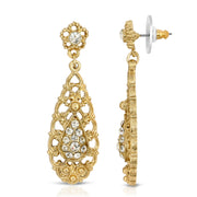 Gold Tone Crystal Filigree Drop Earrings