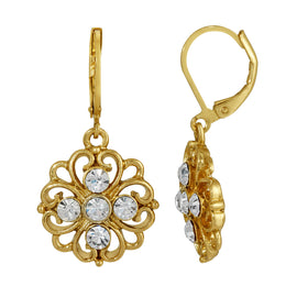 Fashion Jewelry - Golden Glitz Crystal Floral Drop Earrings