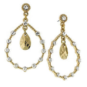 Gold Tone Crystal Teardrop Earrings