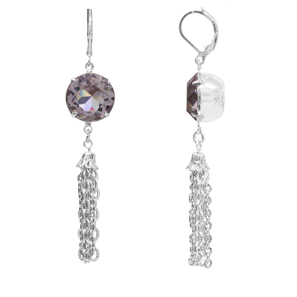 European Purple Crystal 14K Silver Tone Tassel Drop Earrings