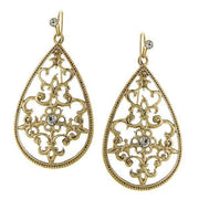 Gold-Tone Crystal Filigree Drop Earrings