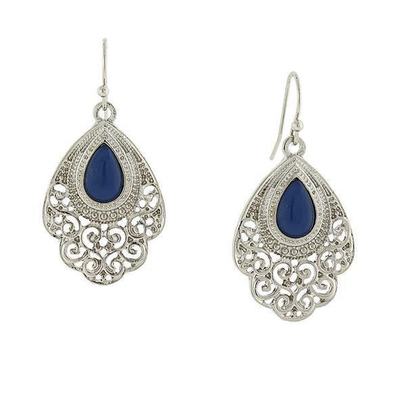 1928 Jewelry: 2028 Jewelry - Silver-Tone Blue Filigree Drop