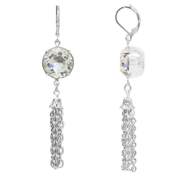 2028 Jewelry Silver Tone Light Blue Swarovski Crystal Drop Tassel Earrings