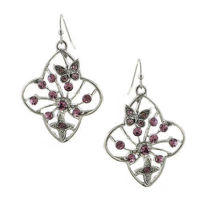 Silver Tone Amethyst Filigree Flower Drop Earrings