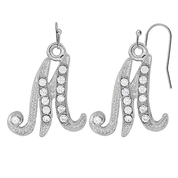 Silver Tone Crystal Initial M Wire Earrings