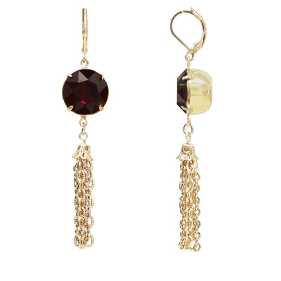 Gold Tone Red Swarovski Crystal Tassel Drop Earrings