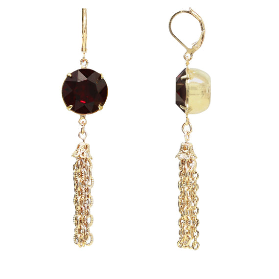 Fashion Jewelry - European Red Crystal 14K Gold Tone Tassel Drop Earrings