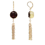 Gold Tone Pink Swarovski Crystal Drop Earrings