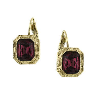 Gold Tone Purple Square Drop Earrings