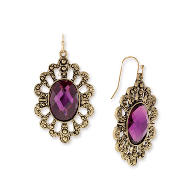 Gold-Tone Purple Filigree Oval Drop Earrings