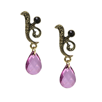 Gold-Tone Purple Teardrop Earrings