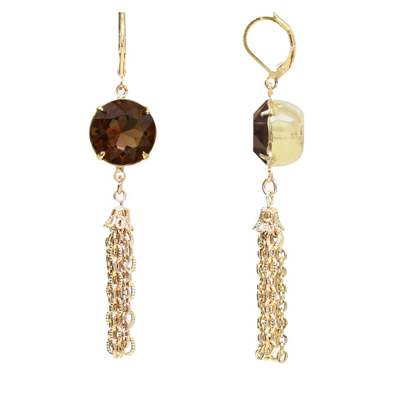 Gold Tone Smoked Topaz Swarovski Crystal Tassel Drop Earrings