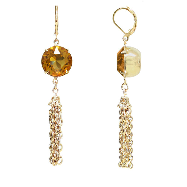 1928 Jewelry Gold Tone Swarovski Crystal Tassel Drop Earrings