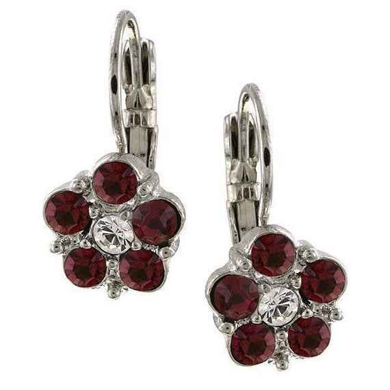 1928 Jewelry Silver-Tone Red and Crystal Flower Drop Earrings
