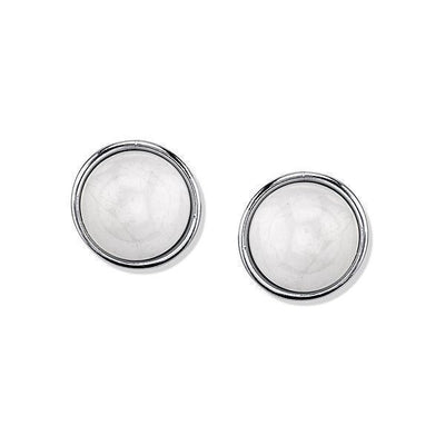 Silver Tone Gemstone White Howlite Button Earrings