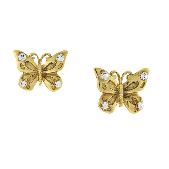 Gold-Tone and Crystal Accent Butterfly Post Earrings