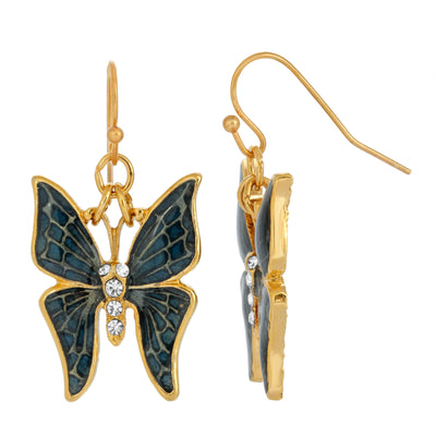 Gold Tone Blue Enamel And Crystal Accent Butterfly Drop Earrings