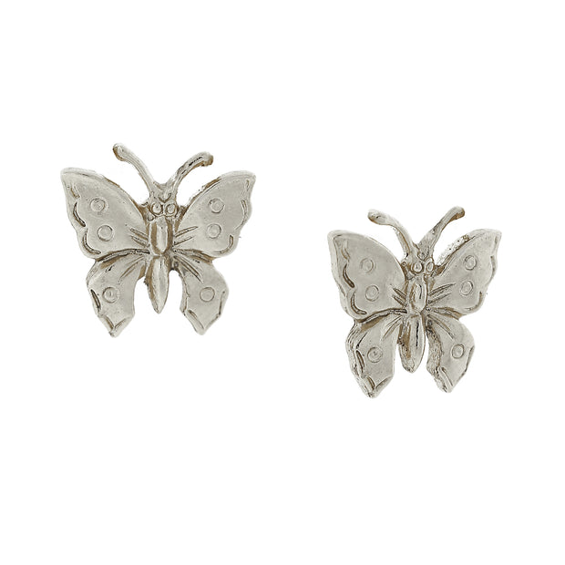 Silver Tone Petite Butterfly Post Earrings