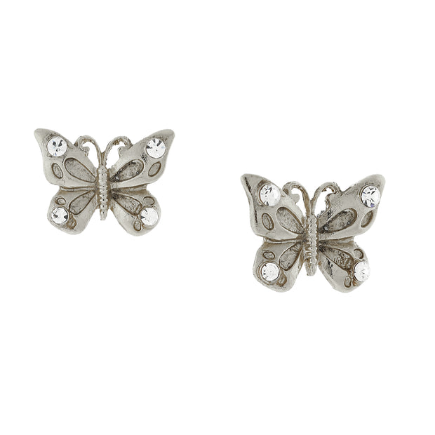 Silver Tone And Crystal Accent Butterfly Post Earrings