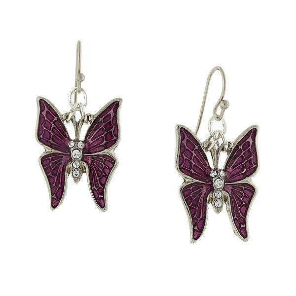 Silver Tone Purple Enamel and Crystal Accent Butterfly Drop Earrings