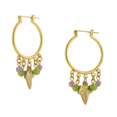 14K Gold-Dipped Multi-Color Beaded Snap In Hoop Earrings