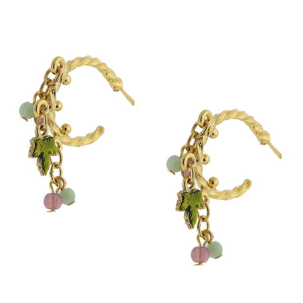 14K Gold Dipped Multi Color Beaded Post Drop Earrings