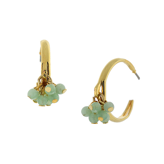 Fashion Jewelry - 14k Gold-Dipped Lt. Green Beaded Post Hoop Earrings