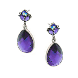 Silver-Tone Amethyst Pearshape Drop Earrings