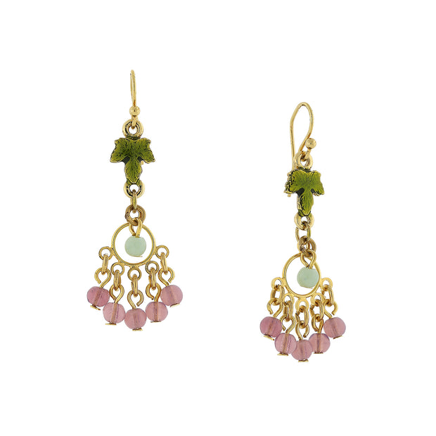 14K Gold Dippe Multi Color Beaded Grape Leaf Drop Earrings