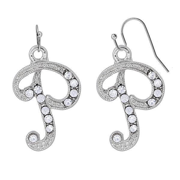 Silver Tone Crystal Initial P Wire Earrings
