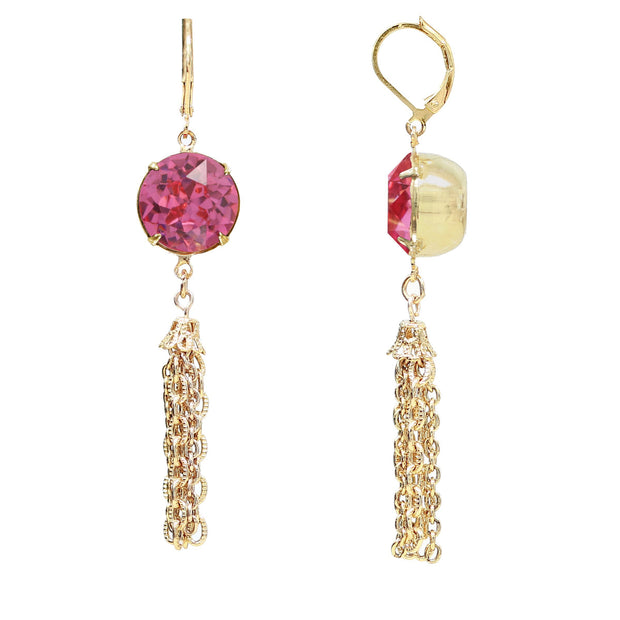 Gold Tone Pink Swarovski Crystal Tassel Drop Earrings