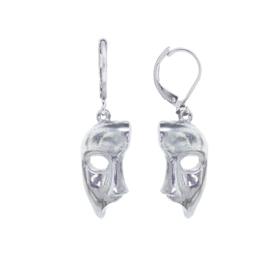 Pewter Masquerade Mask Drop Earrings