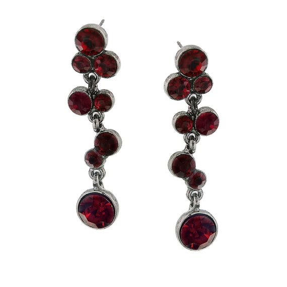Silver-Tone Siam Red Drop Earrings