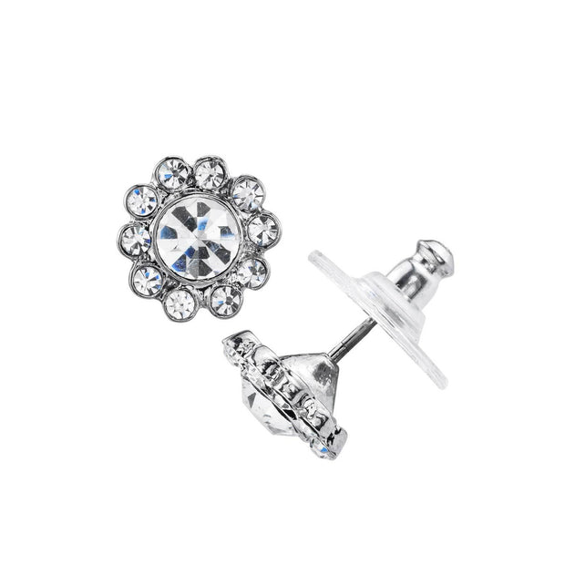 Silver-Tone Crystal Flower Button Earrings